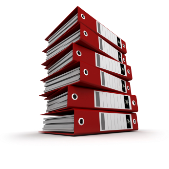 Pile of red ring binders